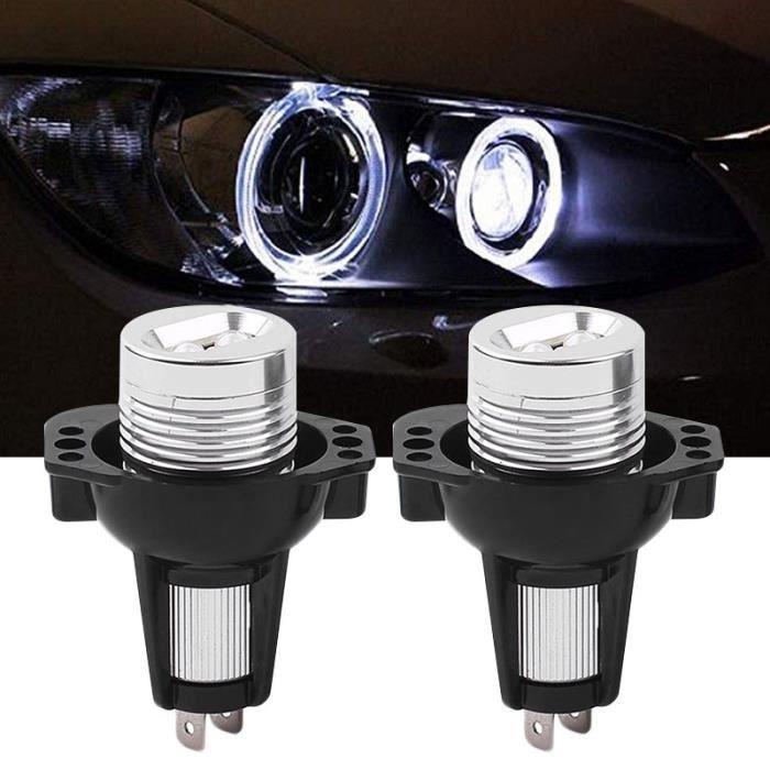 Feu anti brouillard voiture 2 accessoires de phare d'oeil d'ange PCS 6W pour BMW E90 / E91 - 245059 Noir