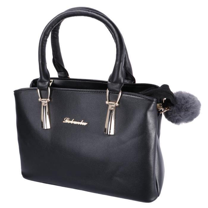 1 pc noir simple souple sac à main en cuir PU à bandoulière une épaule fourre-tout pour les dames femmes SAC A MAIN
