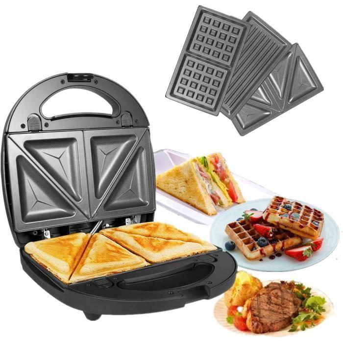 3 en 1 Sandwich Grill Gaufrier,Sandwitch Toaster 3 Plaques de Gril Amovibles Croque Gaufre Appareil à Croque-Monsieur Acier In