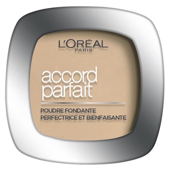L'Oréal Paris - Poudre Fondante Accord Parfait - Peaux Normales à Mixtes - Teinte : Beige Rosé (3.R) - 9g