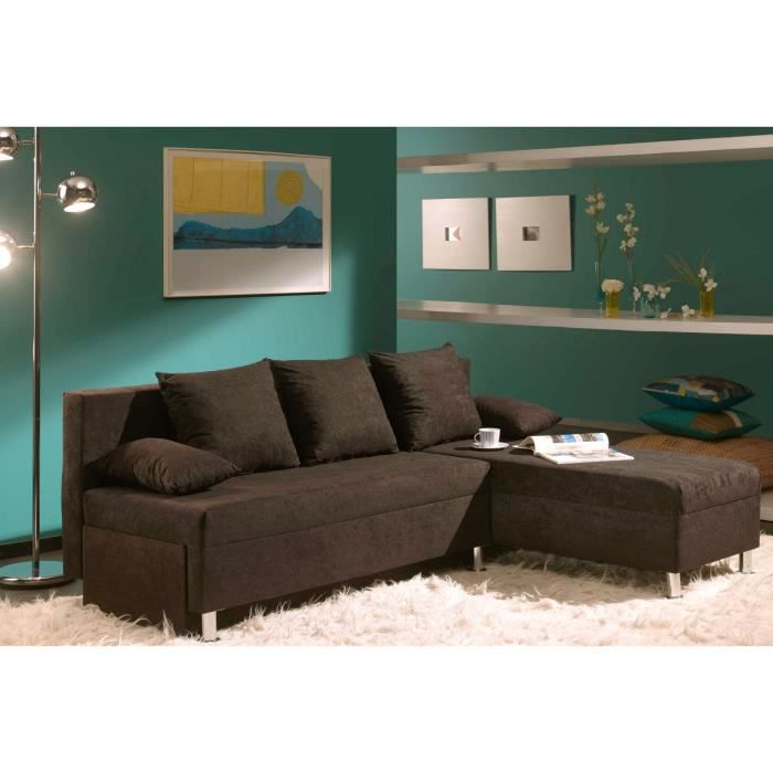 canap d 39 angle modulable convertible marron en tissu igor achat vente canap sofa divan. Black Bedroom Furniture Sets. Home Design Ideas