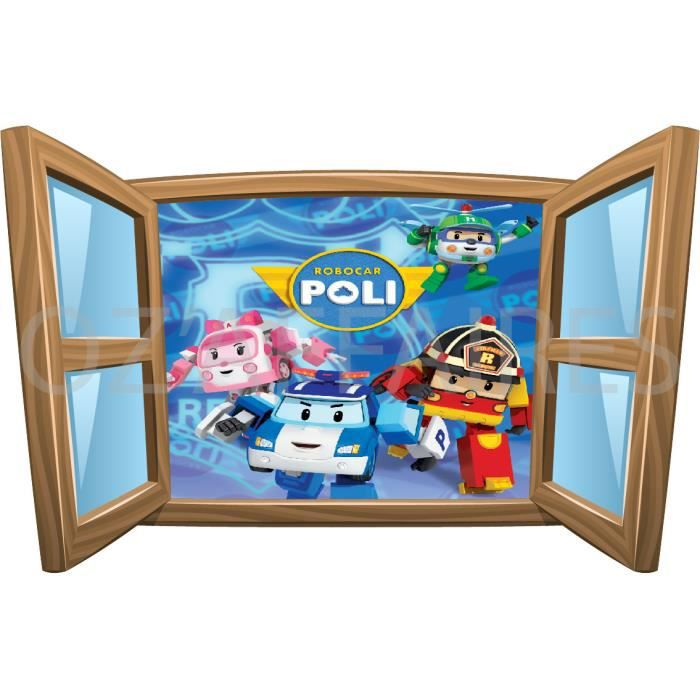 sticker enfant trompe luoeil fentre robocar poli x cm senf with papier peint trompe l oeil fenetre. Black Bedroom Furniture Sets. Home Design Ideas
