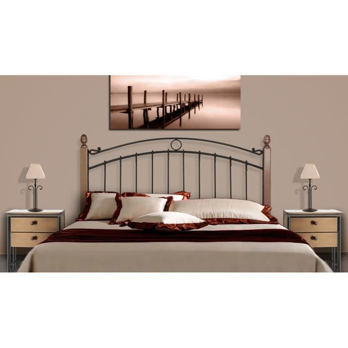 t te de lit en fer forg et bois mod le sofia achat vente t te de lit cdiscount. Black Bedroom Furniture Sets. Home Design Ideas