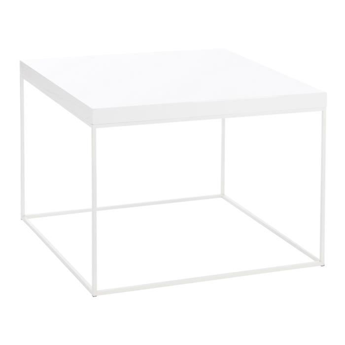 table basse carr e en m tal blanc 80x80x60cm achat vente table basse table basse carr e en. Black Bedroom Furniture Sets. Home Design Ideas
