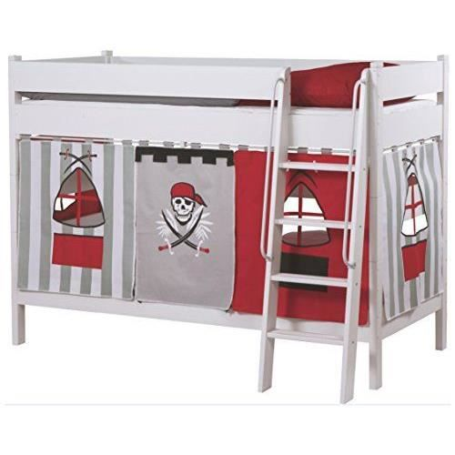 roba 523111 v140 rideau pour lits superpos s en 5 parties en canevas black pit gris achat. Black Bedroom Furniture Sets. Home Design Ideas