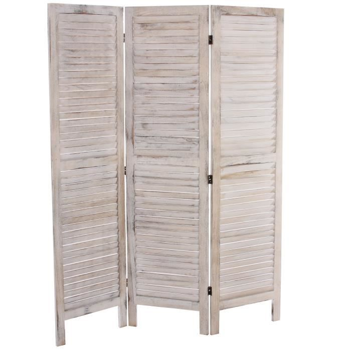 paravent s paration bois 3 pans 138x2 5x170cm shabby vintage blanc achat vente. Black Bedroom Furniture Sets. Home Design Ideas