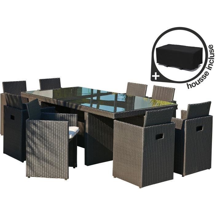 salon de jardin 8 personnes r sine tress e achat vente salon de jardin salons de jardin. Black Bedroom Furniture Sets. Home Design Ideas
