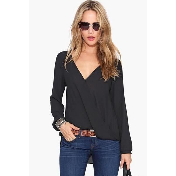 femme manches longues en mousseline de soie col v chemise top blouse noir achat vente. Black Bedroom Furniture Sets. Home Design Ideas