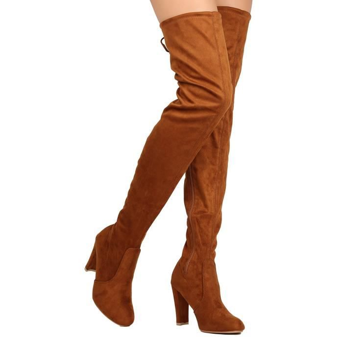 Fh66 Faux Suede Thigh High Drawstring Cupped Heel Boot EL9VS Taille-41