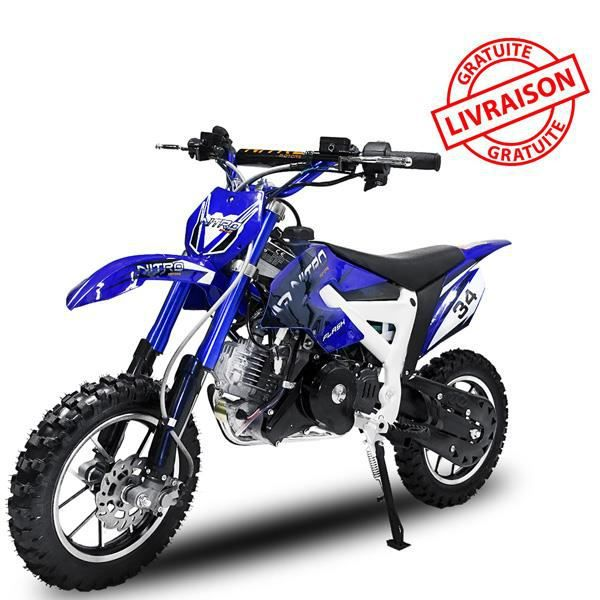 moto essence dirt bike flash 4s4 e start 49cc bleu achat vente moto moto essence dirt bike. Black Bedroom Furniture Sets. Home Design Ideas