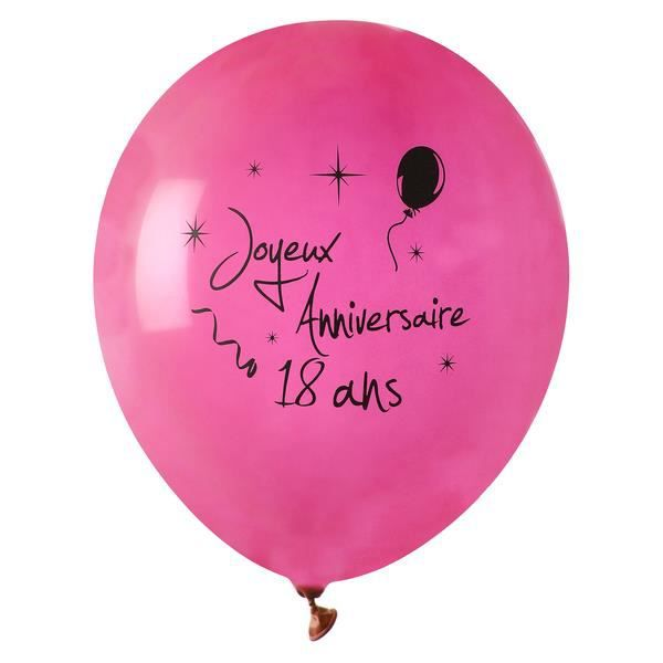 8 ballons joyeux anniversaire 18 ans rose achat. Black Bedroom Furniture Sets. Home Design Ideas