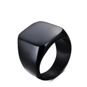 CHEVALIERE Noir solide poli acier inoxydable biker bague homm