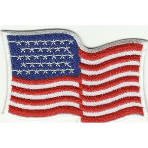 ECUSSON  PATCHE PATCH THERMOCOLLANT DRAPEAU USA ETATS UNIS 8X5CM BORDURE BLANC