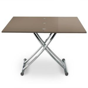 TABLE BASSE Table basse relevable Carrera Taupe laqué