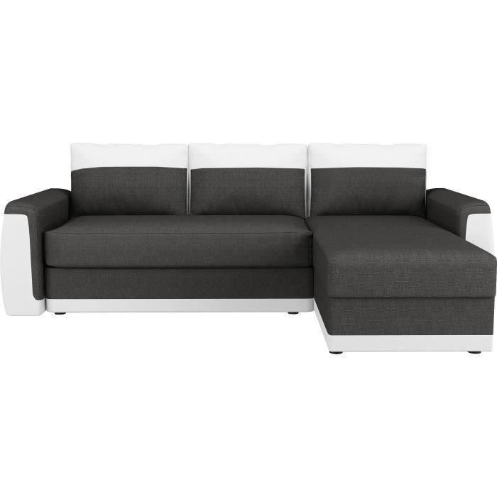 Canapé d'angle convertible 3 places - Simili blanc et tissu gris anthracite - Contemporain - L 230 x P 142 cm - JAMES