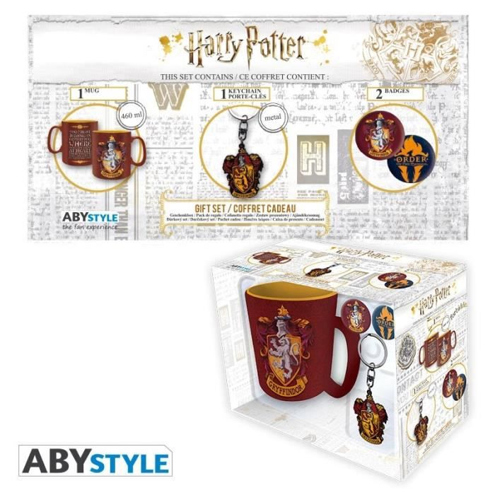 Pack Mug + Porte-clés + Badges Harry Potter - Gryffondor - ABYstyle