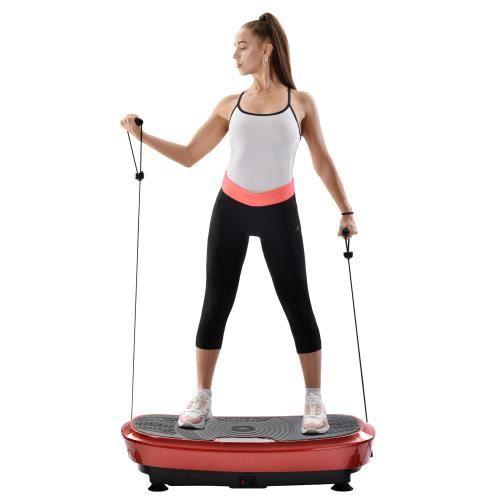 Fitness Plateforme Vibrante et Oscillante Ultra Slim Perte de poids & Brûleur de Graisses à la Maison Bluetooth--ROUGE