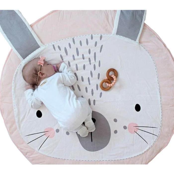 Tapis Ramper bébé Tapis de jeu Tapis Ramper de enfants Rond Animaux Moquette Enfant Tapis pour Fille Garçon 90x90cm