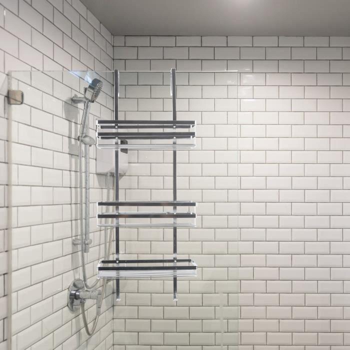 Laizere° Etagère salle de bains Etagère de douche à suspendre avec Panier de douche 3 couches de Installation facile