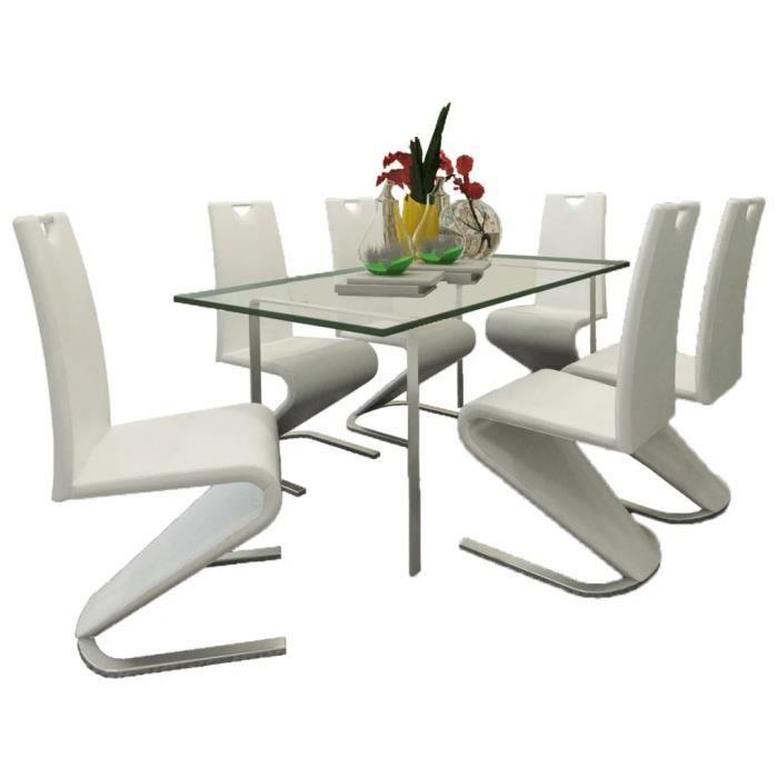 LULO Chaise de salle à manger 6pcs Cantilever Cuir synthétique Blanc 45,5 x 63 x 101 cm #39