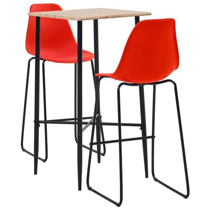 MAISON - Ensemble Table de bar + 2 tabourets bar Mange-Debout Ensemble repas de jardin Plastique Rouge Classique - 65556
