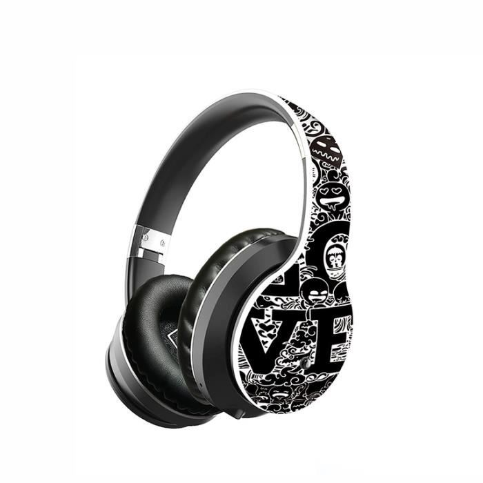 Casque sans fil pliable Bluetooth 5.0 avec crochets d'oreille graffiti et microphone stéréo Hi-Fi pour ordinateur portable