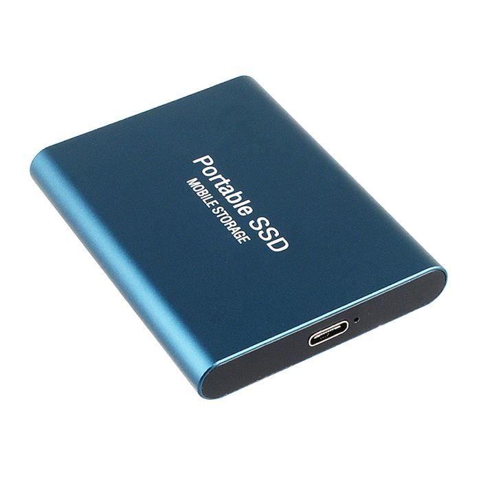 Portable Disque dur mobile 1To type C USB3.1 SSD antichoc en alliage d'aluminium disque à semi-conducteurs 540 Mo - s bleu