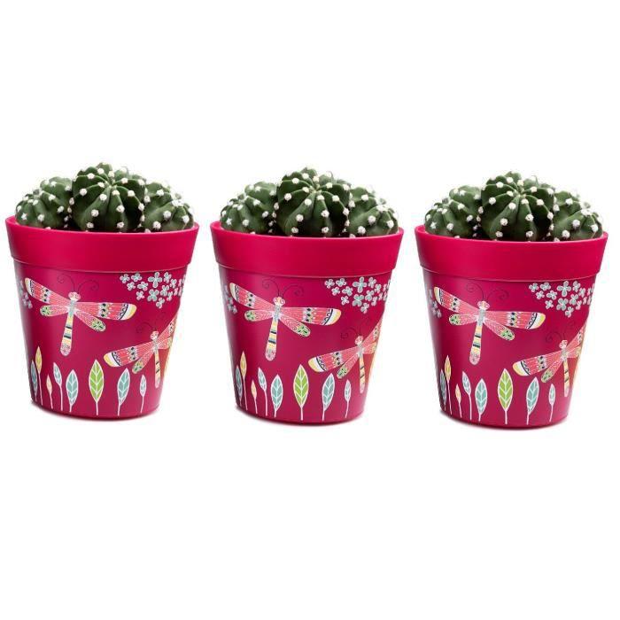 Hum Flowerpots Ensemble de 3 Pots de Fleurs Colorés Libellules Roses