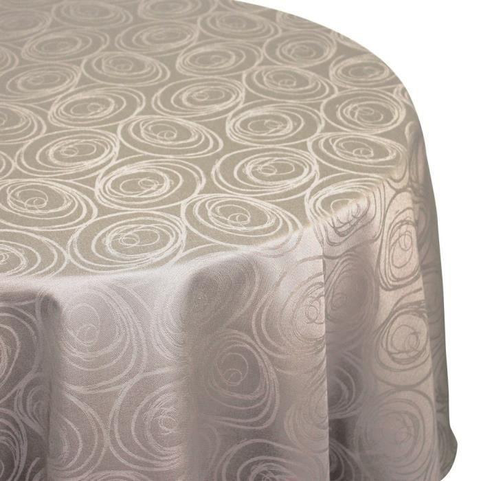Nappe ovale 180x300 cm Jacquard 100% coton SPIRALE taupe Autre Marron
