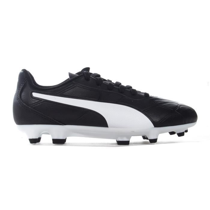 Chaussure de football pour enfants Junior Puma Monarch FG Firm Ground, noir / blanc
