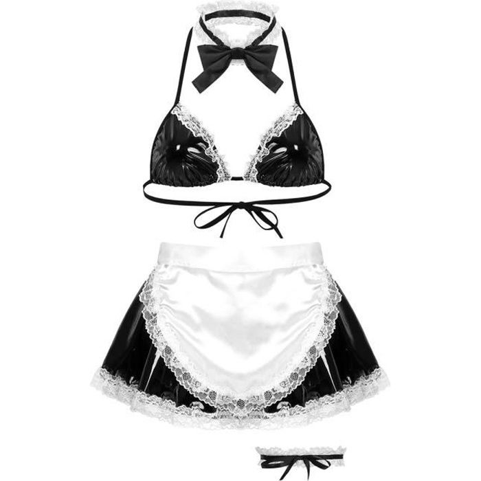 Femme Déguisement Soubrette Tenue Cuir Sexy Soutien-Gorge Robe Cocktail Clubbing avec Tablier Mini Robe de Servante Clubwear S-XL