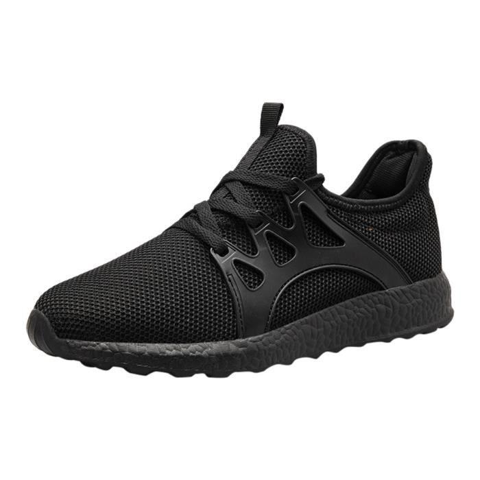 Hommes de mode décontracté maille à lacets solide chaussures de course de sport baskets légères Noir