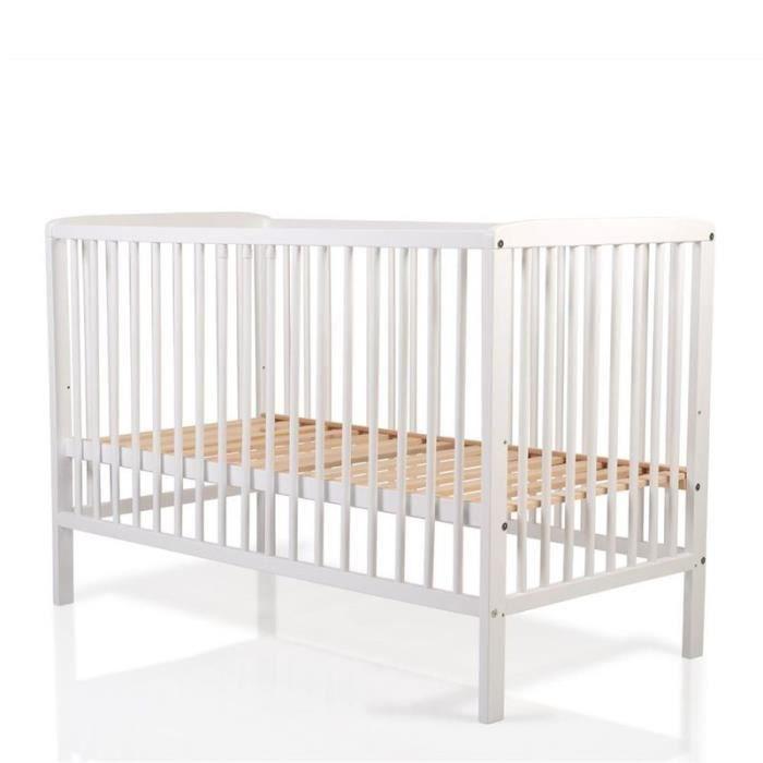 Cangaroo, lit bébé en bois de hêtre blanc, 3 positions de hauteur