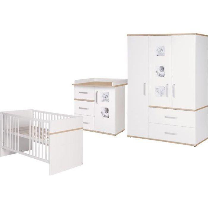 ROBA Ensemble de meubles bébé -Pia-, lit bébé 70x140 cm + commode à langer + armoire, blanc