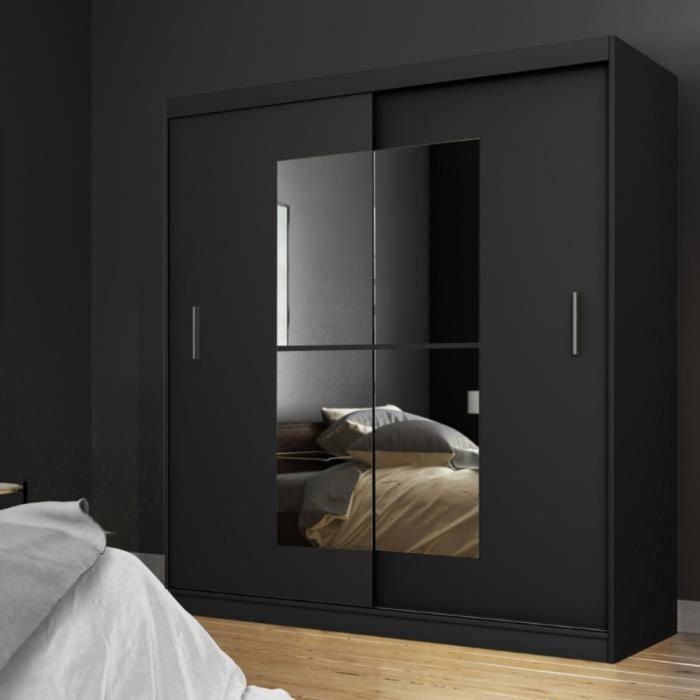 Armoire avec miroir - VANIVA - 180 cm - noir - portes coulissantes
