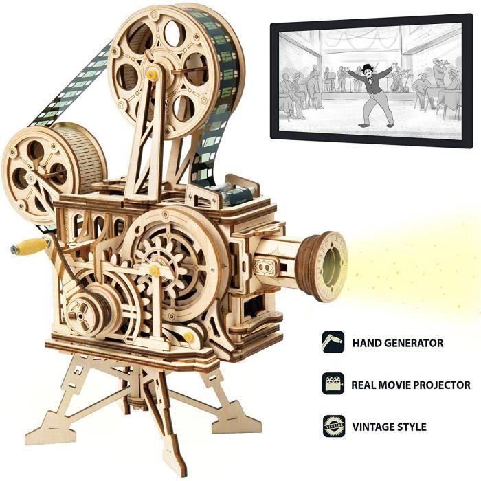 Kit de Construction Jeu de Puzzle Bois 3D sans Colle Projecteur de Cinéma à Main Maquette Mechanical Modèles de Construction Cadeau