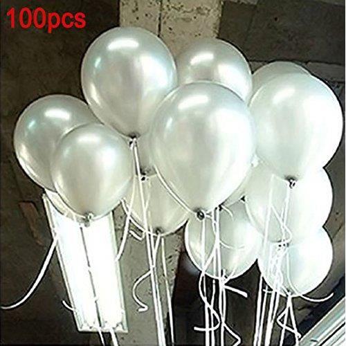 Sachet de 100 Ballons Nacrés Perle Latex–10pouces Ballons Décoration pour Anniversaire Mariage Soirée Partie (blanc nacré) ☌430