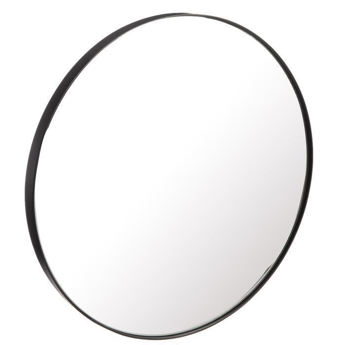 Miroir design en métal rond D35cm Noir