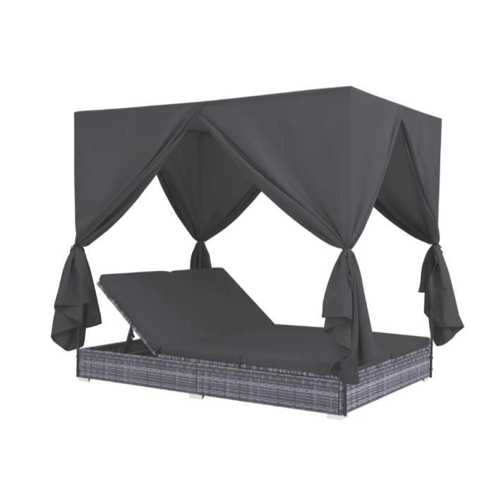 Chaise longue d'extérieur avec rideaux Résine tressée Gris