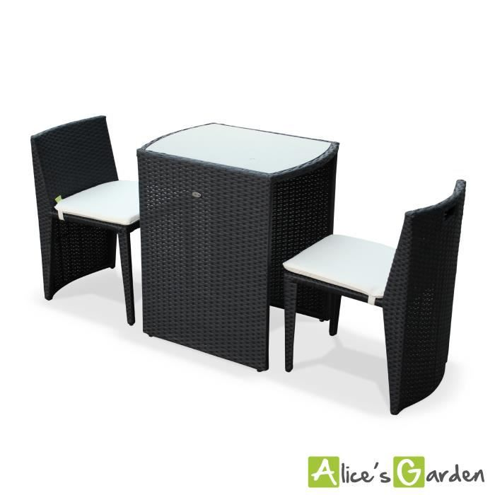 salon de jardin en r sine tress e noir encastrable doppio pour balcon et terrasse achat. Black Bedroom Furniture Sets. Home Design Ideas
