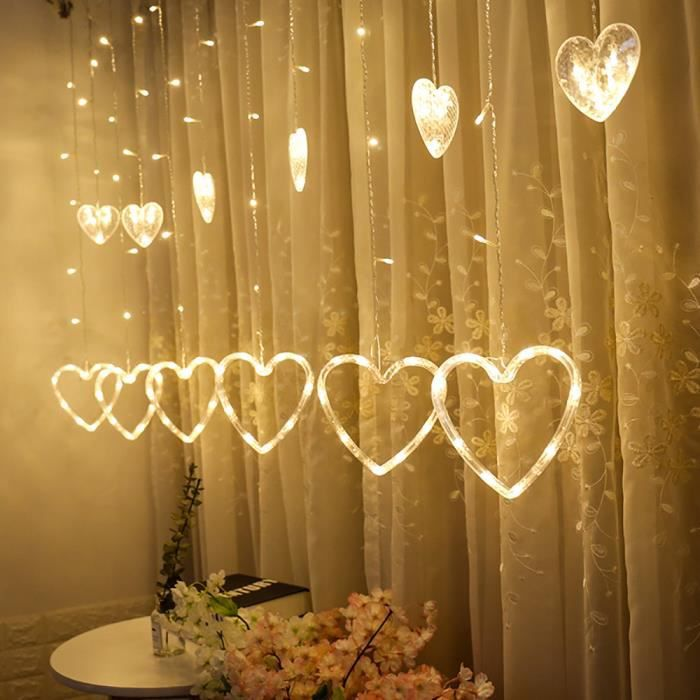 LED en forme de coeur suspendu Rideau Guirlandes Net Noël Accueil Party  Home Decor G mn689