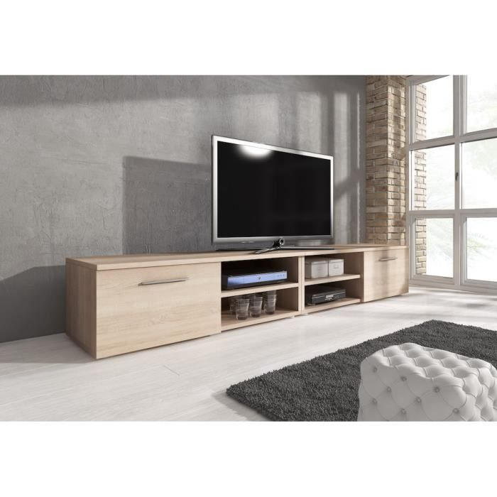 reno meuble tv contemporain d cor ch ne 240 cm achat vente meuble tv reno meuble tv. Black Bedroom Furniture Sets. Home Design Ideas