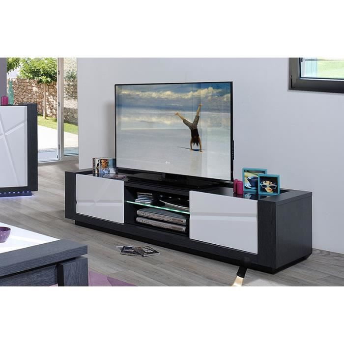 meuble tv lumineux gris et blanc laqu contemporai achat. Black Bedroom Furniture Sets. Home Design Ideas