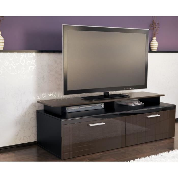 meuble tv noir chocolat 140 cm achat vente meuble tv. Black Bedroom Furniture Sets. Home Design Ideas