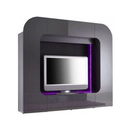 Meuble tv design gris laqu led palermo achat vente for Photo meuble tv design