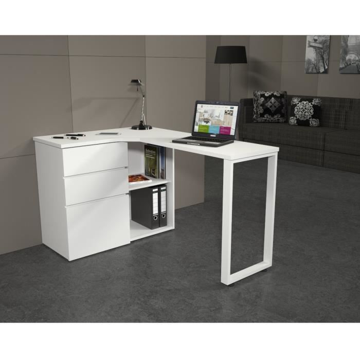 livio bureau angle 130x76x90 cm blanc achat vente. Black Bedroom Furniture Sets. Home Design Ideas