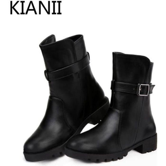 Cuir Bottines Chaussures Pointu Noir Femme oWdeCQrBx