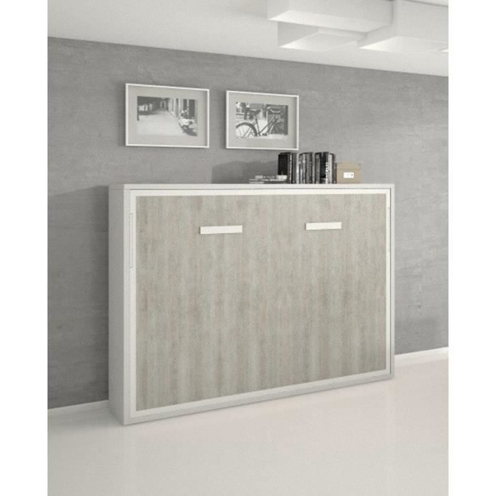 Armoire Lit Escamotable Horizontale Beton Joy 2 Places 140 X 200