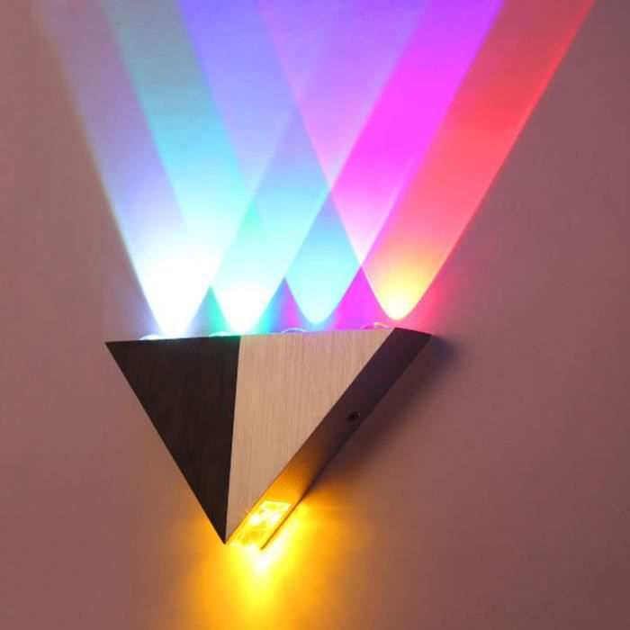 Applique murale en aluminium 5w triangle led lampe de mur for Applique murale 5 ampoules
