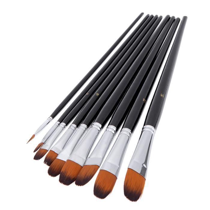 12Pcs Peinture Pinceaux Artiste Nylon Cheveux Aquarelle Acrylique Huile Dessin